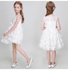Robe de Cérémonie Fille Demoiselle d'honneur blanche + papillons 90-150cm
