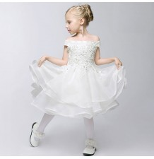 Flower girl formal dress white colour 80-150cm
