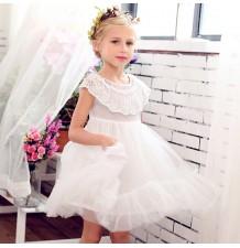 Abitino bambina damigella bianco con farfalle 100-150cm