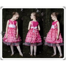 Flower girl fuchsia shantung dress 90-125cm