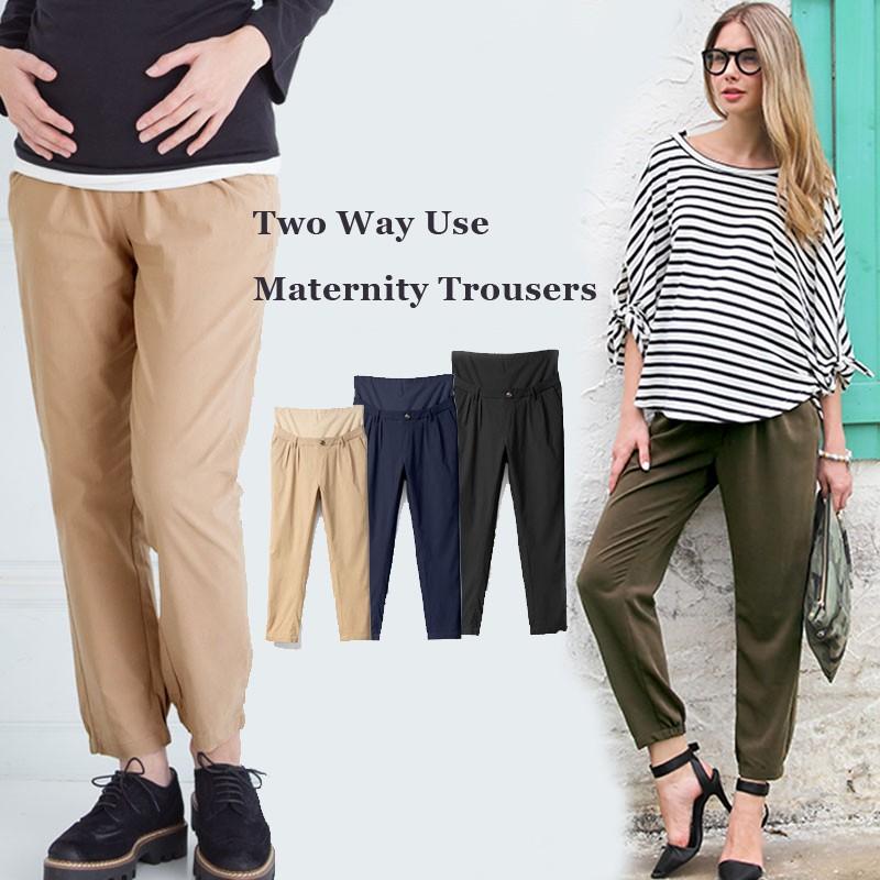 Pantaloni premaman a vita e lunghezza regolabile