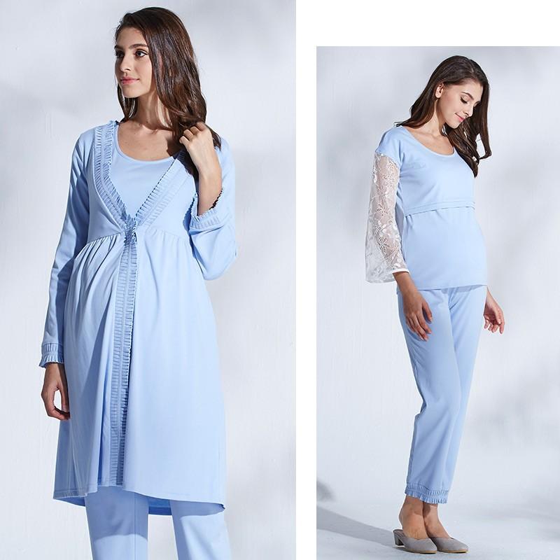 Pyjama De Grossesse Allaitement 3 Pièces Sweet Mommy