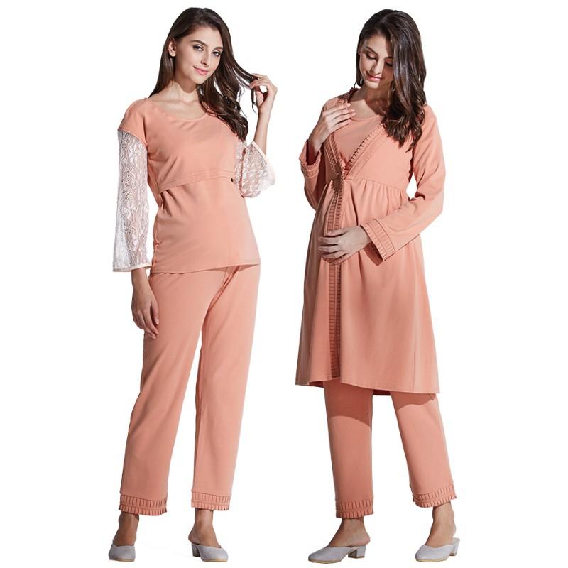 4a36c8be2316e Maternity Nursing Pajamas 3 pieces Set | SWEET MOMMY
