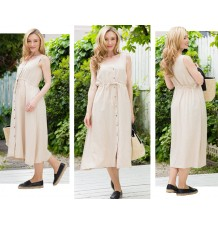 Maternity and nursing linen-cotton blend sleeveless maxi dress set