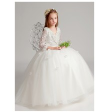 Flower girl white long formal dress with long sleeves 80-160 cm