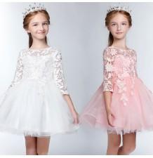 Robe blanche/rose de cérémonie fille-demoiselle d'honneur 100-150cm