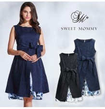 Maternity and nursing formal dress with floral inner layer