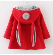 Red baby girl hooded coat
