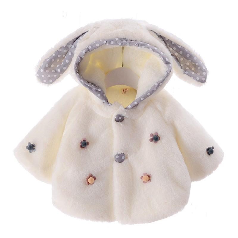Cappottino bianco bimbo/bimba con orecchie e coda a pois