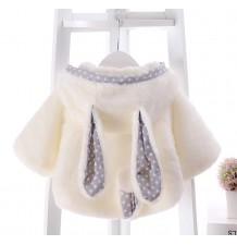 Manteau blanc pour petit enfant/petite fille avec oreilles et queue à pois