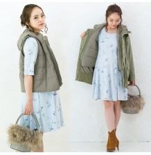 Maternity coat with baby pouch and vest