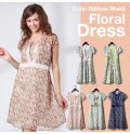 Sweet Flower Print Chiffon Maternity Nursing Dress