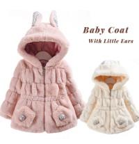 Manteau rose pour petite fille avec capuche et oreilles