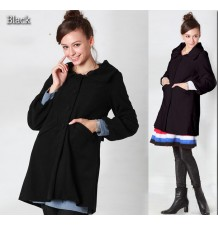Puff Sleeve 2-way collar Mama Coat with baby pouch