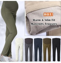 Warm and slim fit maternity stretch trousers
