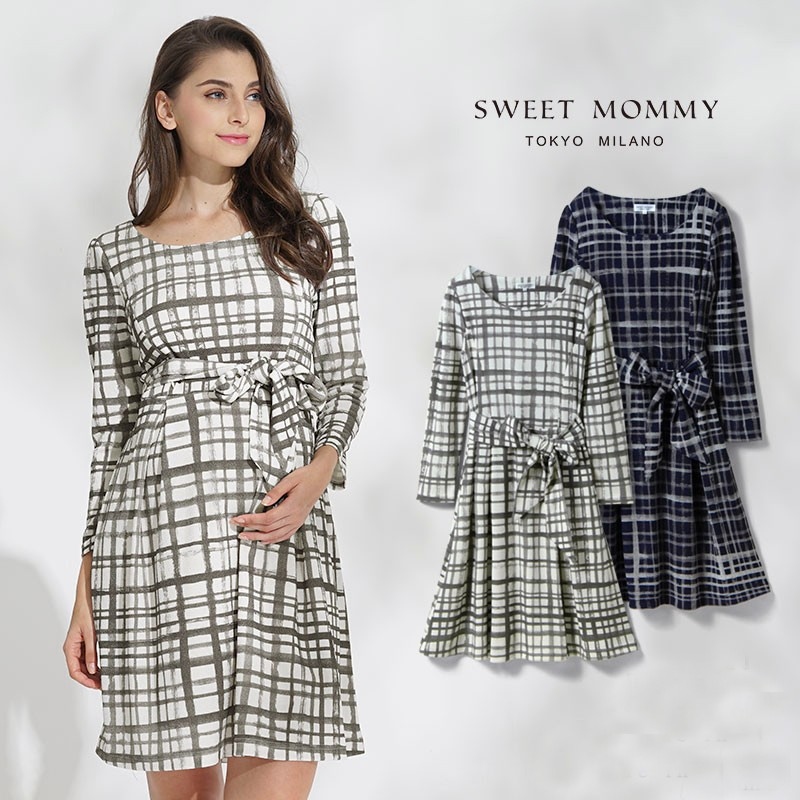 7024862fe74a9 Check print maternity and nursing dress   SWEET MOMMY