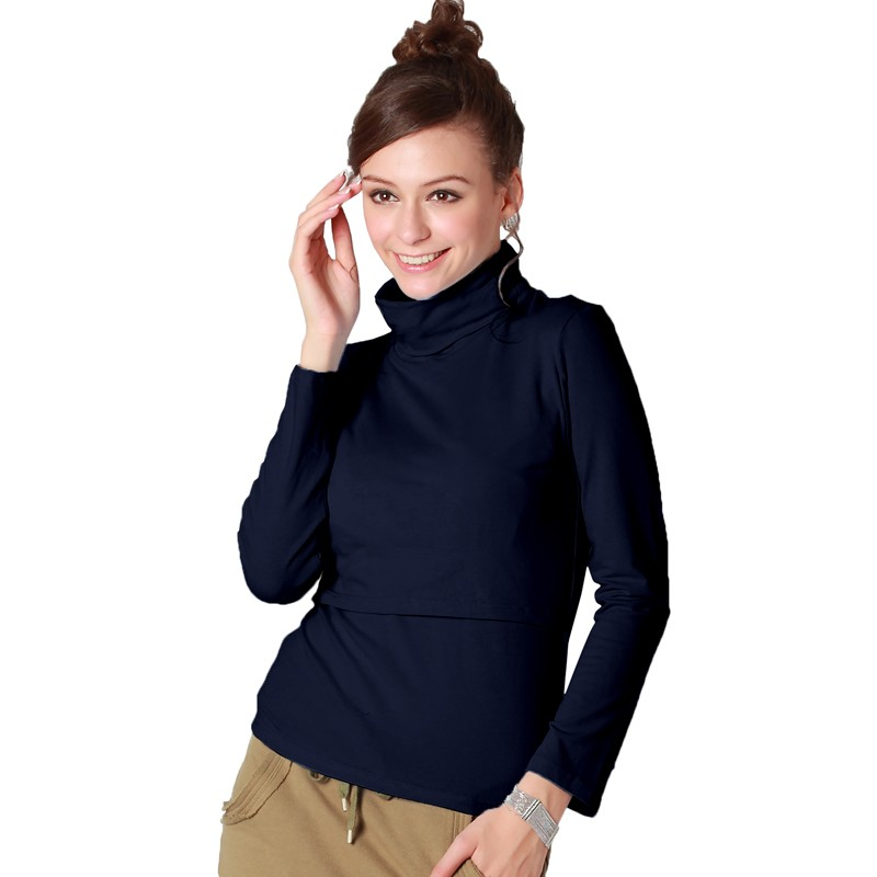 2d60b655515de3 ... Turtleneck Nursing TOP Milk Shirt ...