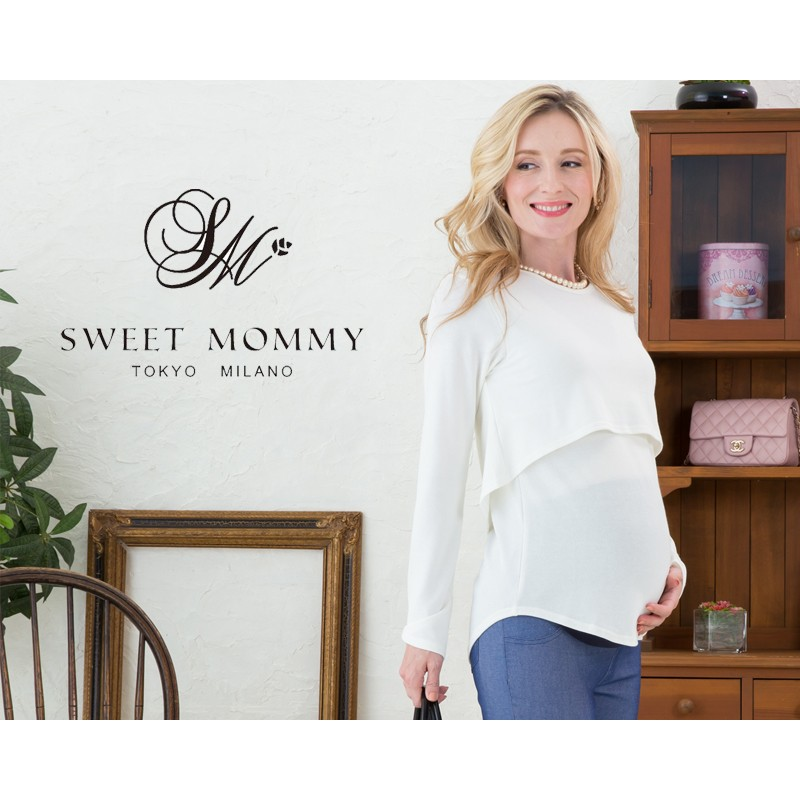 Maternity and nursing long sleeve top