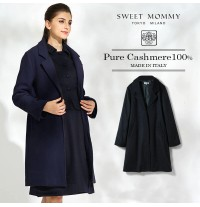 Cashmere maternity coat with adjustable baby pouch