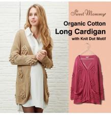 "Cardigan Lungo Premaman in Cotone Biologico ""Knit Dot Motif"""
