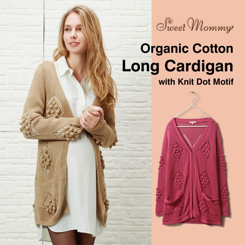 Organic Cotton Maternity Long Cardigan With Knit Dot Motif