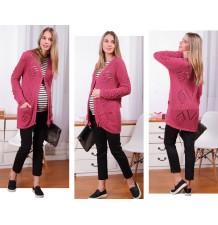 Organic Cotton Maternity Long Cardigan With Knit Dot Motif