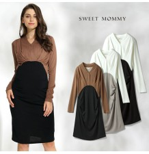 Maternity and nursing long sleeve dress