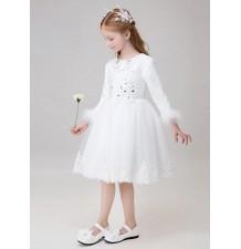 Robe blanche de cérémonie fille demoiselle d'honneur 90-150cm
