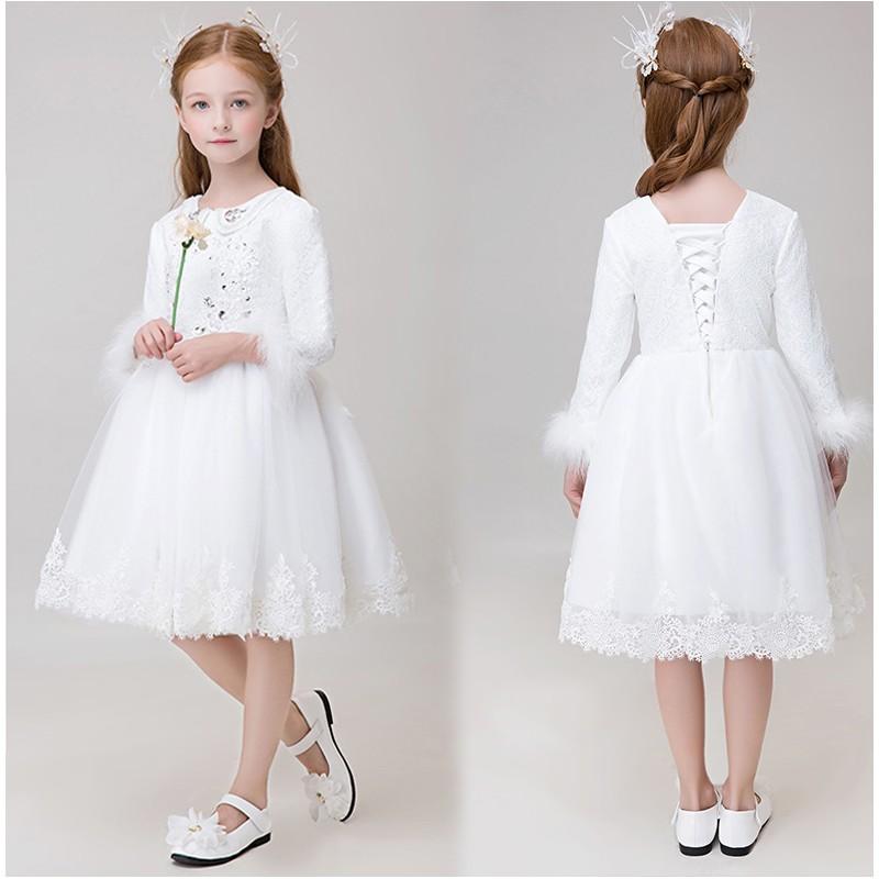 Robe blanche de c r monie fille demoiselle d 39 honneur sweet mommy - Robe de demoiselle d honneur enfant ...
