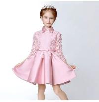 Abito bimba da damigella rosa o bianco decorato 100-150cm