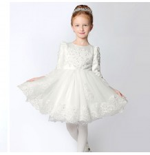 Flower girl ceremony formal dress ivory 90-150cm