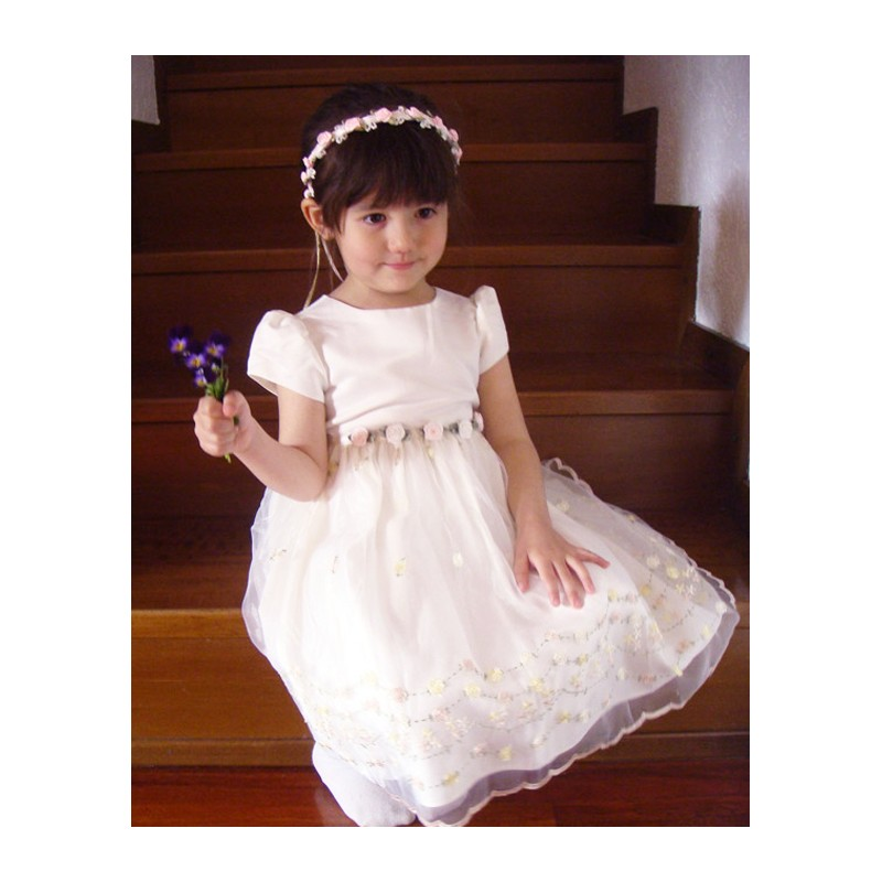 Vestito Damigella e Cerimonia Bambina Bianco 2-5 anni