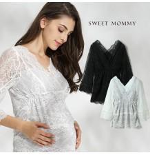 Top de grossesse et allaitement en dentelle