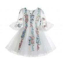 Robe blanche de cérémonie fille demoiselle d'honneur 100-150cm