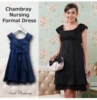Chambray Maternity Nursing Formal Dress
