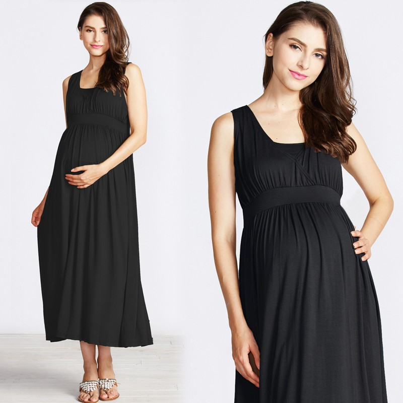 Sleeveless drape maxi dress for maternity and nursing