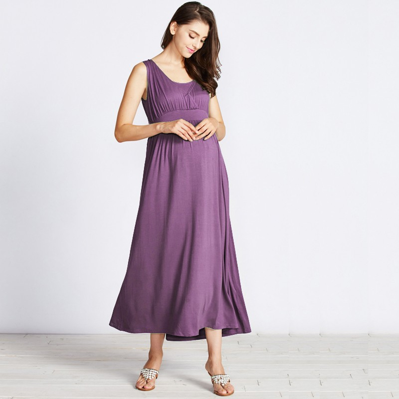Sleeveless drape maxi dress for maternity and nursing