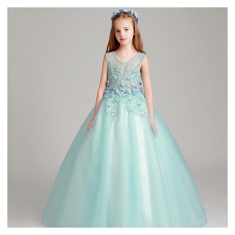 lowest price 975a2 d9381 Abito lungo cerimonia bimba ragazza damigella blu tiffany