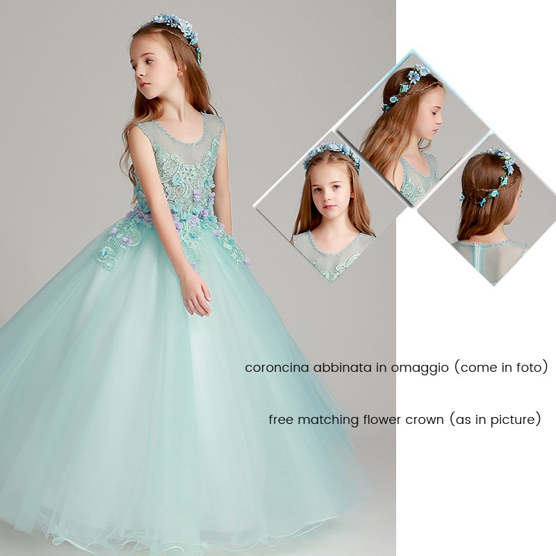 e80231dbc8140 ... Robe longue bleu tiffany de cérémonie fille-demoiselle d honneur ...