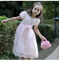 Vestito Cerimonia Bambina 90-100cm Bianco Rosa