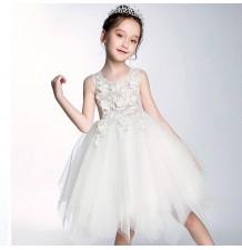 Flower girl formal dress color white 100-150 cm