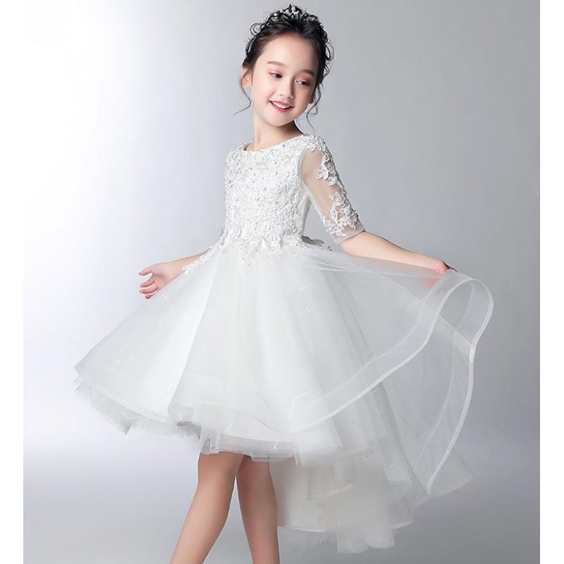 Robe blanc de cérémonie fille-demoiselle d'honneur 100-160cm