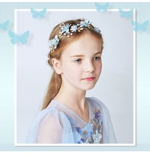 Decorated pink little girl headband  for ceremonies