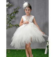 Flower girl formal dress white 110-160cm