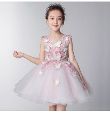 Flower girl white formal dress 100-160 cm