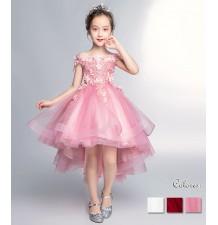 Robe rose de cérémonie fille-demoiselle d'honneur 100-160cm