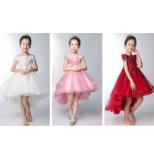 Flower girl pink formal dress 100-160 cm