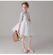 Robe blanche de Cérémonie Fille Demoiselle d'honneur 80-150cm