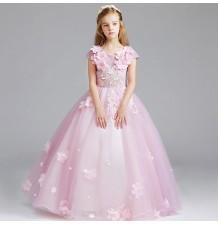 Vestito cerimonia bimba damigella rosa 100-150cm