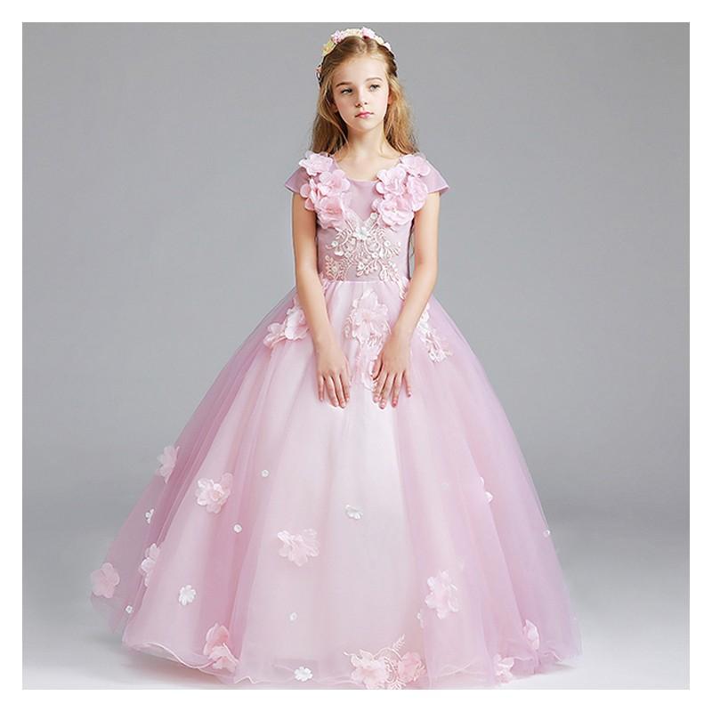 best service 101e7 bc70a Vestito cerimonia bimba damigella rosa 100-150cm